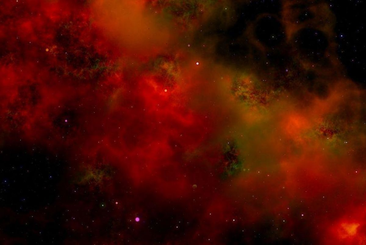 Red image of the universe, taken from the largest ever 3D map of the universe.