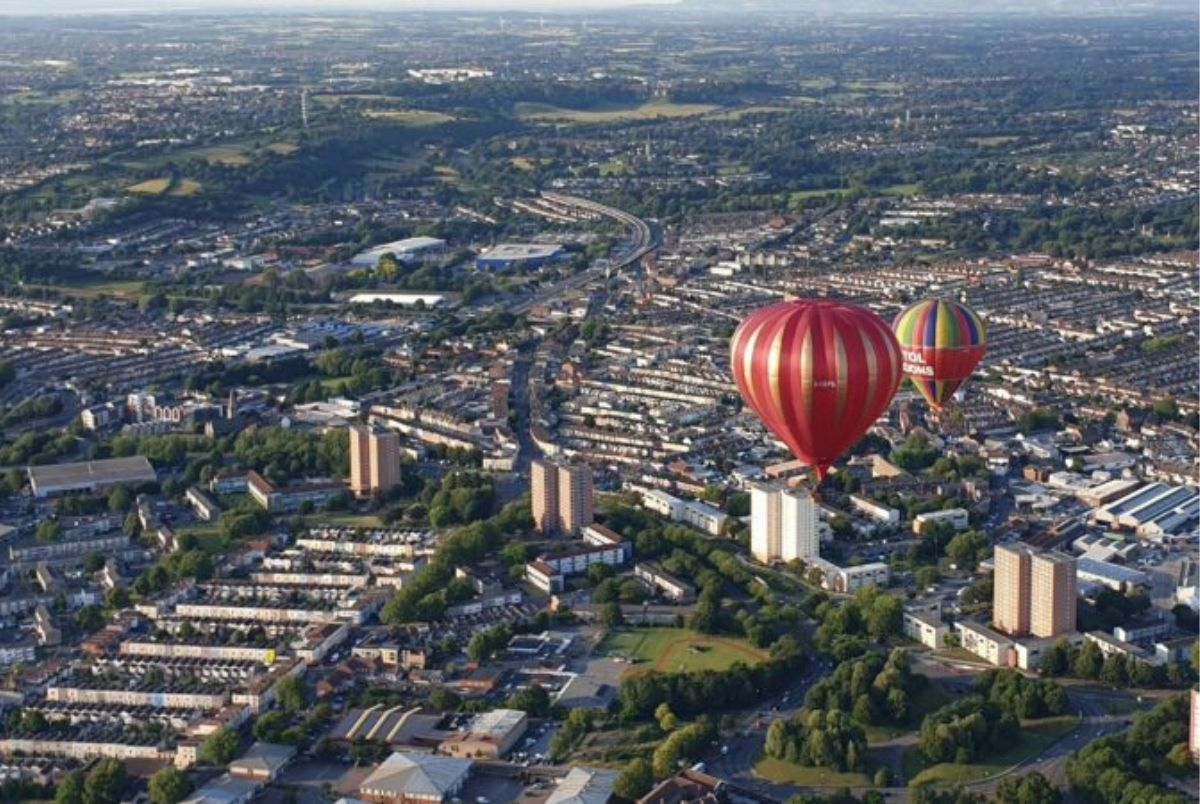 Hot air balloons in the sky above Bristol