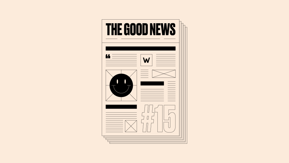 Graphic design of newspaper with 'The Good News #15' written on it