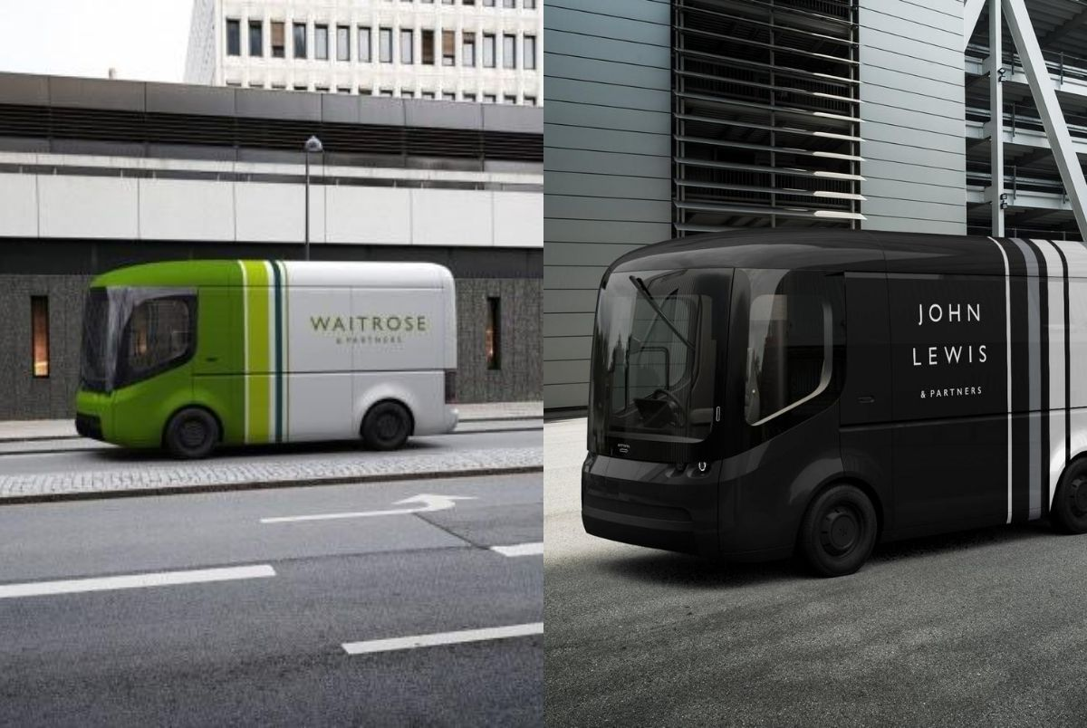 Image of the brand new Waitrose and John Lewis electric delivery vans