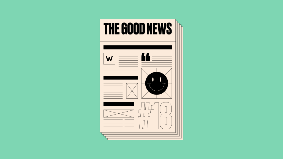 Illustration of newspaper front page reading 'The Good News #18' on a green background
