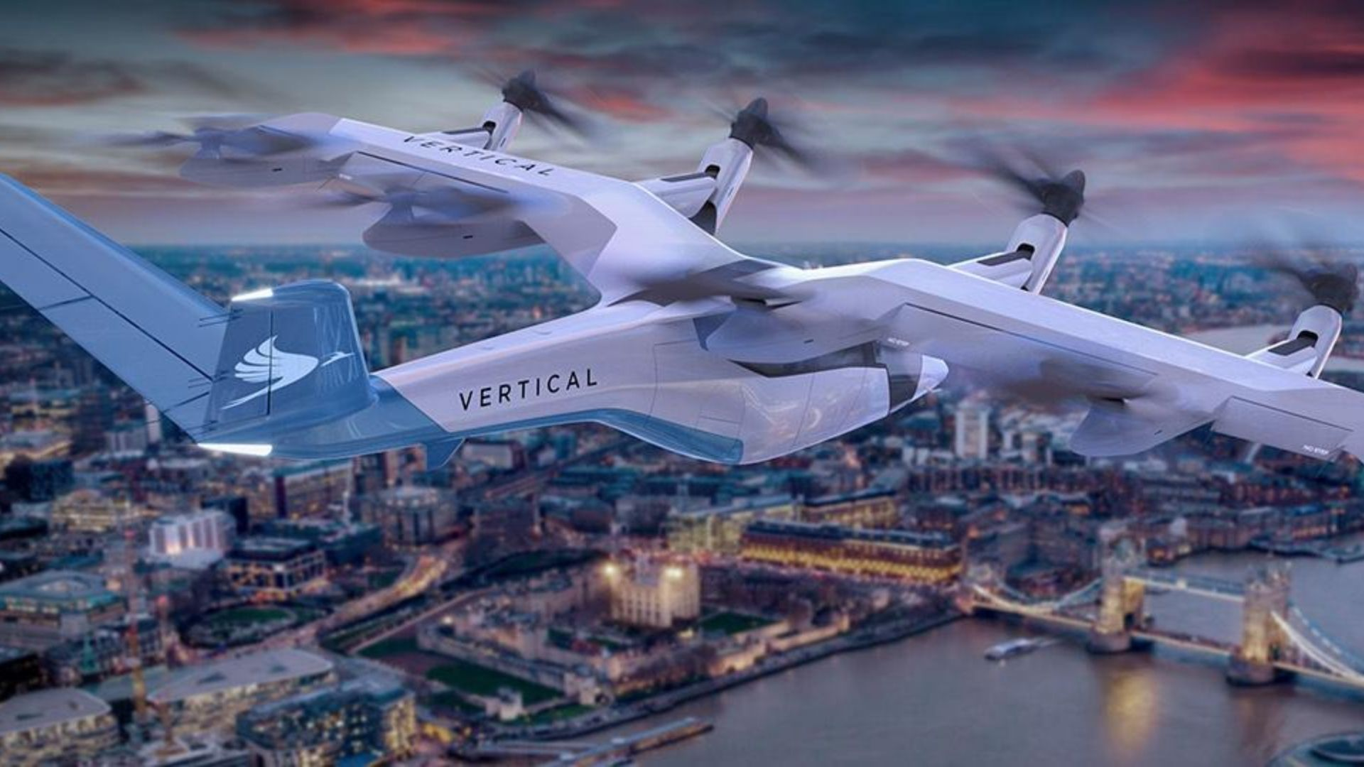 Illustration of Vertical Engineering's flying taxi flying over London at night.