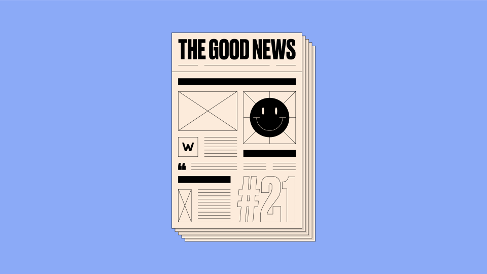 Illustration of newspaper front cover, with 'The Good News #21' written on it, on a blue background.