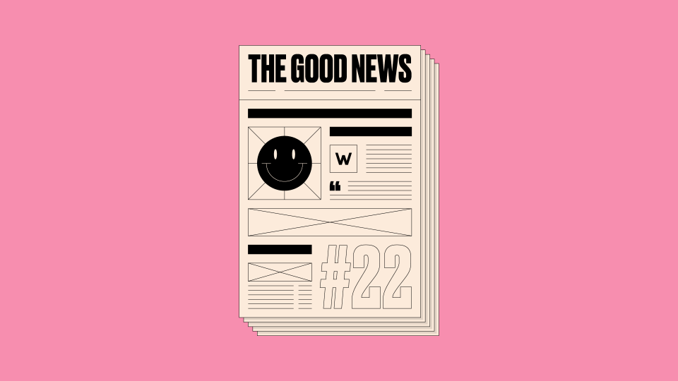 Graphic design of newspaper front page with 'The Good News #22' written on it, on a pink background.