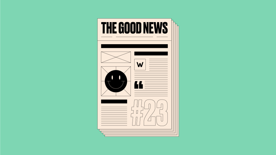 Graphic design of newspaper front page, featuring the text 'The Good News #23' on a light green background