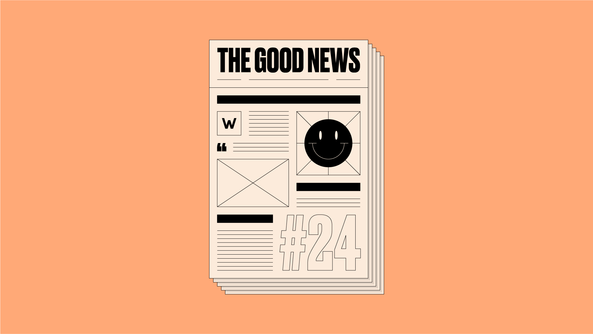 Illustration of newspaper front page with 'The Good News #24' written on it, on an orange background.