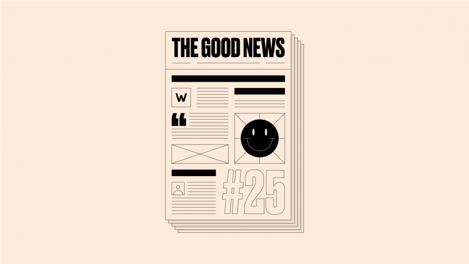 Image of newspaper front page reading 'The Good News #25' on a cream background.