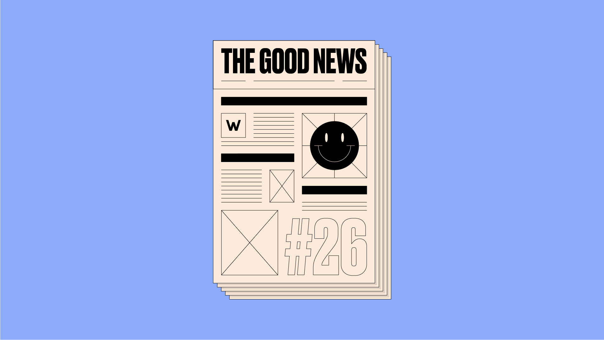 Graphic design of newspaper front page, reading 'The Good News #26' on a purple background