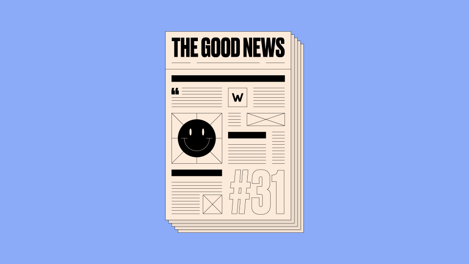 Front page of newspaper that reads 'The Good News #31' written on it, on a blue background.