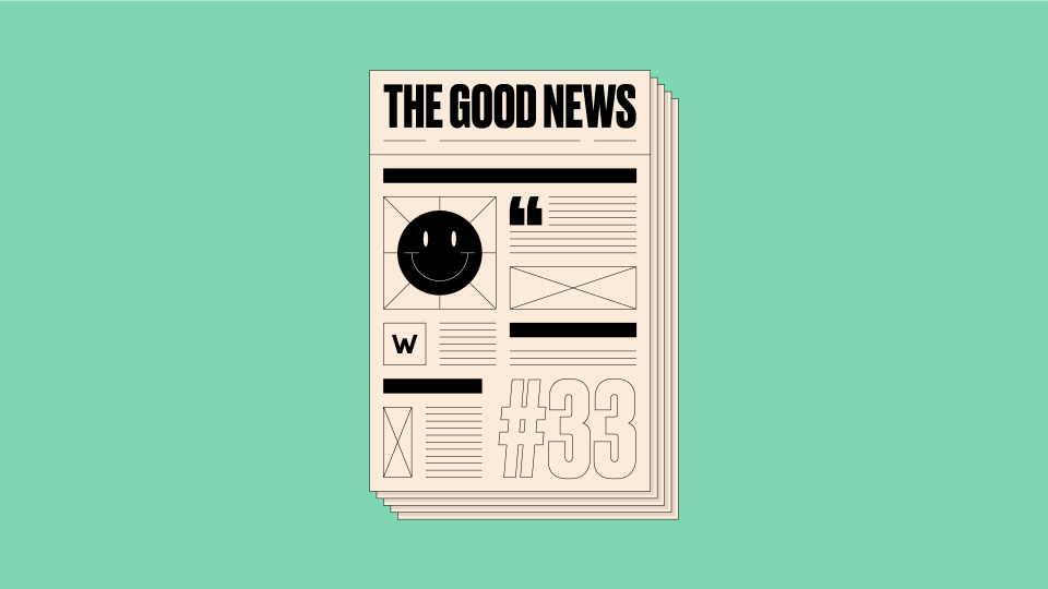 Newspaper front page with 'The Good News #33' written on it, on a green background