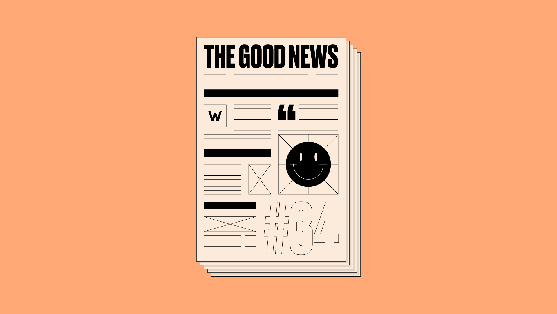 Newspaper front page with 'The Good News #34' written on it, on an orange background