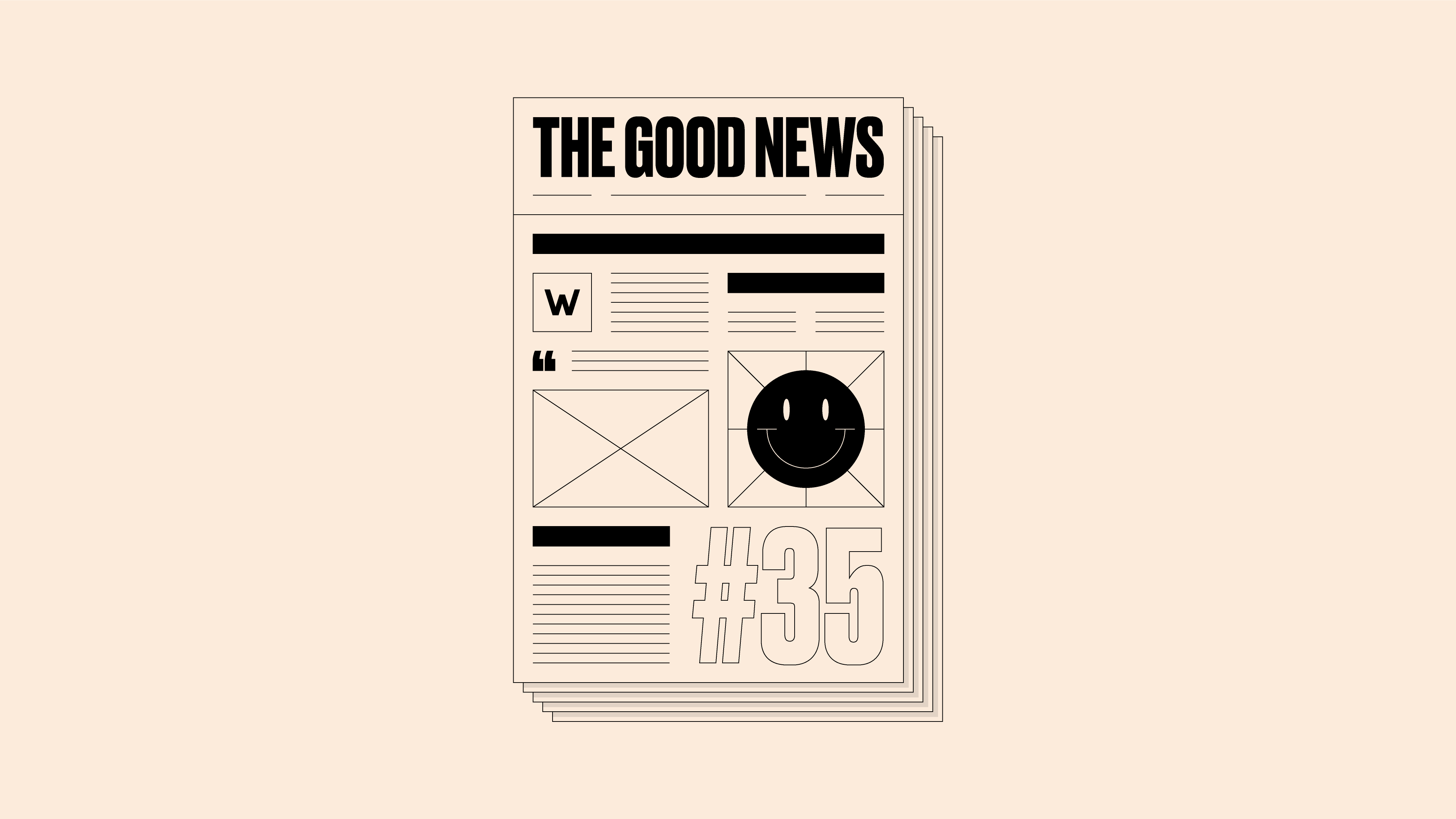 Newspaper front page, with 'The Good News #35' written on it, on a pale yellow background