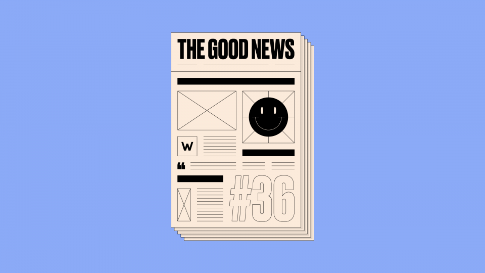 Newspaper front page with 'The Good News #36' written on it, on a blue background